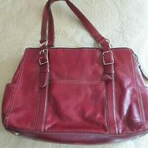 Vintage Fossil Red Leather Satchel Handbag Laptop Bag Photo