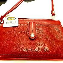 Vintage Fossil Red Leather Wristlet Wallet Mini Purse-Will Make a Great Gift Dw Photo