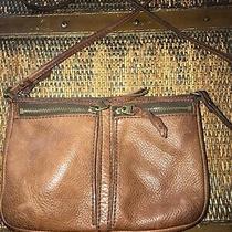 Vintage Fossil Shoulder Crossbody Purse Brown Pebbled Leather Messenger Bag  Photo