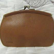 Vintage Fossil Tan Leather Kiss Lock Card Holder Id Coin Change Purse Wallet  Photo