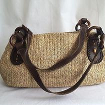 Vintage Fossil Tan Straw Handbag Purse Shoulder Wood Bead Braided Trim 14