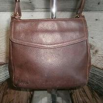 Vintage Fossil Thick Pebble Brown Leather Crossbody Messenger Bag.  Photo