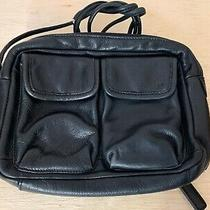 Vintage  Fossil Women's Black Leather Handbag  Purse  Clutch  Cargo Motif Photo