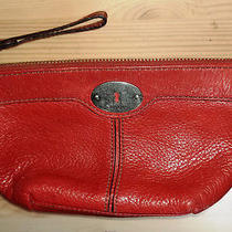 Vintage Fossil Women's Pebbled Leather Cosmetics/clutch Bag W/zipper Pull Photo