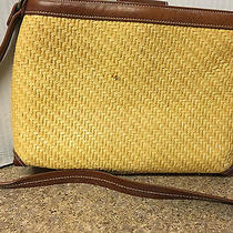 Vintage Fossil Woven Straw Shoulder Purse W/wood Key Brown Leather Trim Photo