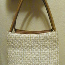 Vintage Fossil Woven White & Beige Handbag With Leather Purse Bag Photo