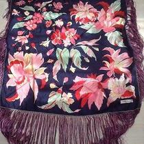 Vintage Francoise Guerin Silk Piano Shawl W Long Fringes Pink Navy Red Hermes Photo