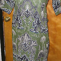Vintage Frankie Welch Alexandria Va Batik Griffin Print Maxi Back Wrapped Dress  Photo