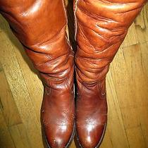 Vintage Frye Black Label Hand Crafted Tall Distressed Cuffed Leather Boots 6.5 Photo