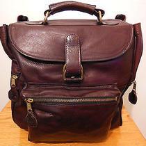 Vintage Frye Dark Mahogany Brown Leather Antique Brass Hardware Backpack Photo
