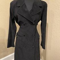 Vintage Full Length Black Velvet Trench Coat by Christy Lynn 11/12 Photo