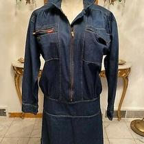 Vintage Fury Blue Denim1/2 Zip Front Dress Women's Size Medium Photo