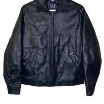 Vintage Gap 90s Size Xs Black Leather Jacket Genuine Leather Heavy Euc Photo