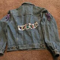 Vintage Gap Blue Jean Jacket Women Denim Bedazzled Sequins Beaded Size Medium Photo