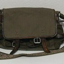 Vintage Gap Green Canvas With Aged Leather Trim Adjustable Strap Messenger Bag  Photo