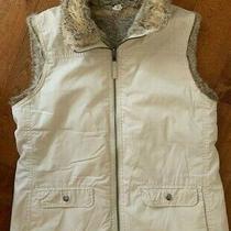 Vintage Gap Ivory Reversible Faux Fur Vest Medium Sleeveless Jacket Photo