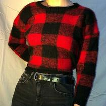 Vintage Gap Red and Black Plaid Wool Sweater Size S Photo