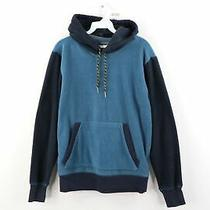 Vintage Gap Streetwear Mens Medium Color Block Fleece Hoodie Sweatshirt Blue Photo