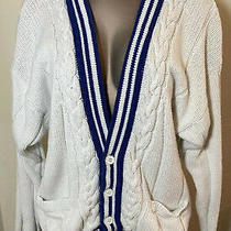 Vintage Gap Womens White Blue Varsity Sweater L Large Cable Cotton 80s Photo