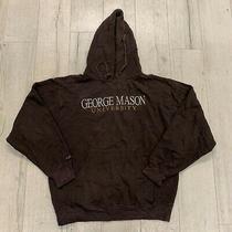Vintage George Mason Uni Usa Embroidered Logo Pullover Hoodie Brown Medium Photo