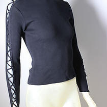 Vintage Gianni Versace Couture Black Cotton Knit Corset Sleeve Top 1990's Sz 38 Photo