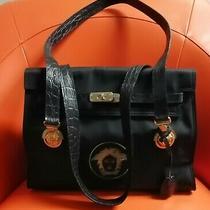 Vintage Gianni Versace Handbag W/ Gold Medusa Accents 80s Photo