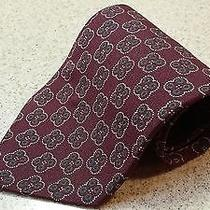 Vintage Giorgio Armani Cravatte Silk Tie Necktie Burgundy White Green Clovers Photo