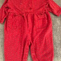 Vintage Girls Baby Gap Red Floral Long Sleeves 1-Piece Romper 12-18 M Photo