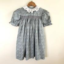 Vintage Girls Size 6 Baby Blue Blush Pink Floral Smocked Spring Dress Photo