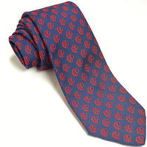 Vintage Givenchy 58l Navy Blue Red Indian Chief Novelty Silk Blend Mens Neck Tie Photo