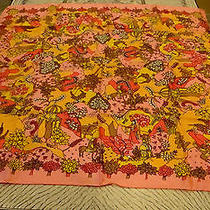 Vintage Givenchy All Silk Scarf Mid Century Mod Era Bright Pink Background Photo