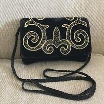 Vintage Givenchy Handbag Purse Shoulder Velvet Black Embroidered Photo