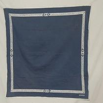 Vintage Givenchy Navy Cotton Scarf W White Painted Design  Photo