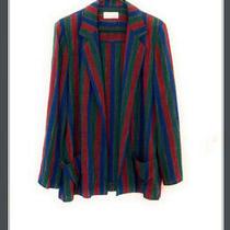 Vintage Givenchy Sport Womens Blazer Jacket Stripes Red Blue Red Sz 14 Holiday Photo