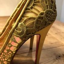 Vintage Gold Crochet Lace Betsey Johnson Women Size 7m Rare Heel Pump Photo