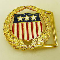 Vintage Gold Tone Wreath American Flag Belt Buckle Photo