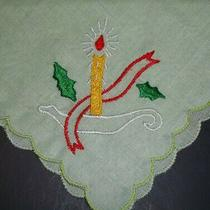 Vintage Green Ladies Handkerchief Embroidered Christmas Candle & Holly  Photo