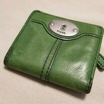 Vintage Green Leather Fossil Wallet Change Purse Euc Bifold Wallet W/ Zip Pocket Photo