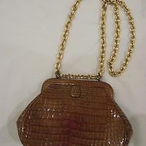 Vintage Greta Moc-Croc Hinged Handbag Excellent Condition So Mad Men Photo