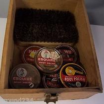Vintage Griffin Shinemaster Shoe Shine Box W/ Brushes & Key. Dovetail Oak 7 Tins Photo