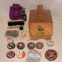 Vintage Griffin Shinemaster Shoe Shine Wood Box Chest Kit With Brushes and Other Photo