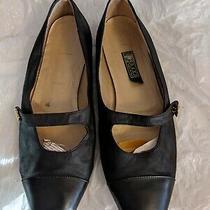 Vintage Gucci 90s Classic Black Maryjanes Flats Gold Gg Button Closure Photo