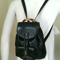 Vintage Gucci Bamboo Mini Backpack Black Leather Hand Bag Authentic Photo
