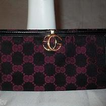 Vintage Gucci Burgundy/black Gg Monogram Checkbook Wallet Italy Photo