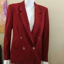 Vintage Gucci Equestrian Rust Red Gabardine Blazer Jacket Wool -Sz 40 4/6/8  Photo