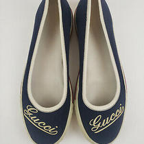 Vintage Gucci Flats Navy White and Red Shoes Cursive Gucci Sz 35 Sneaker Photo