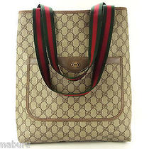 Vintage Gucci Gg Monogram Red Stripe Brown Tote Shoulder Bag Purse Photo
