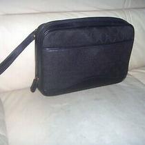 Vintage Gucci Gg Web Black Canvas Leather Trim Wristlet - Clutch Bag Italy Photo