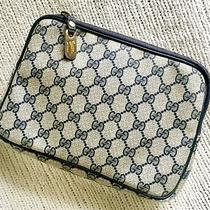Vintage Gucci Italy Supreme Gg Canvas Bag Clutch Navy Blue Purse Photo