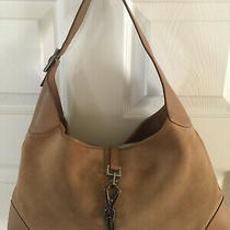 Vintage Gucci Jackie O Hobo Handbag in Beige Suede With Leather Trim. Photo